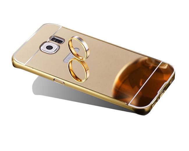 ETUI BUMPER PLECKI MIRROR DO GALAXY S7 Edge - Złoty