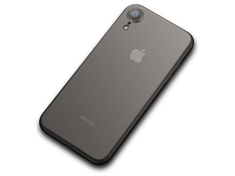 Etui Cafele ultra slim do Apple iPhone Xr czarne + Szkło Alogy - Czarny
