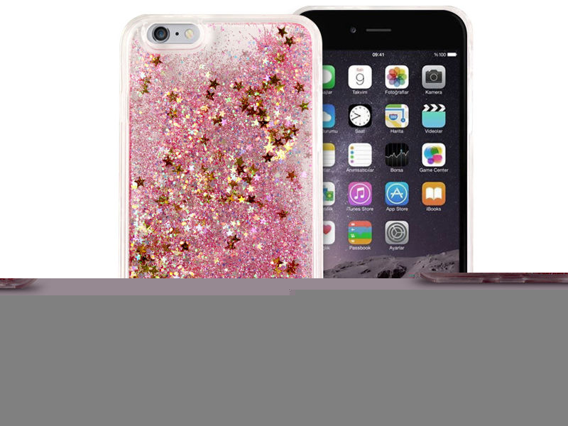Etui liquid glitter Apple iPhone 6/6S Plus brokat różowy + Szkło 9h
