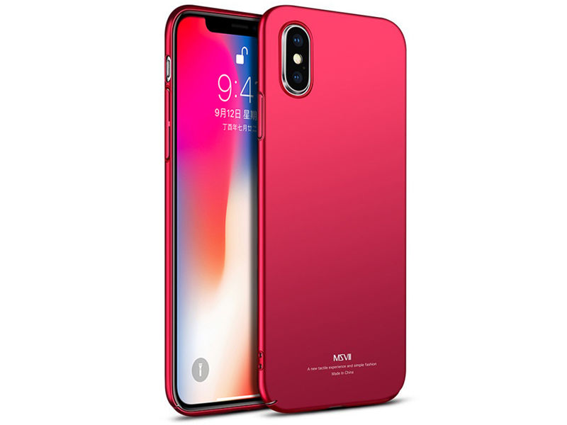 Etui MSVII Thin Case do Apple iPhone X Czerwone - Czerwony
