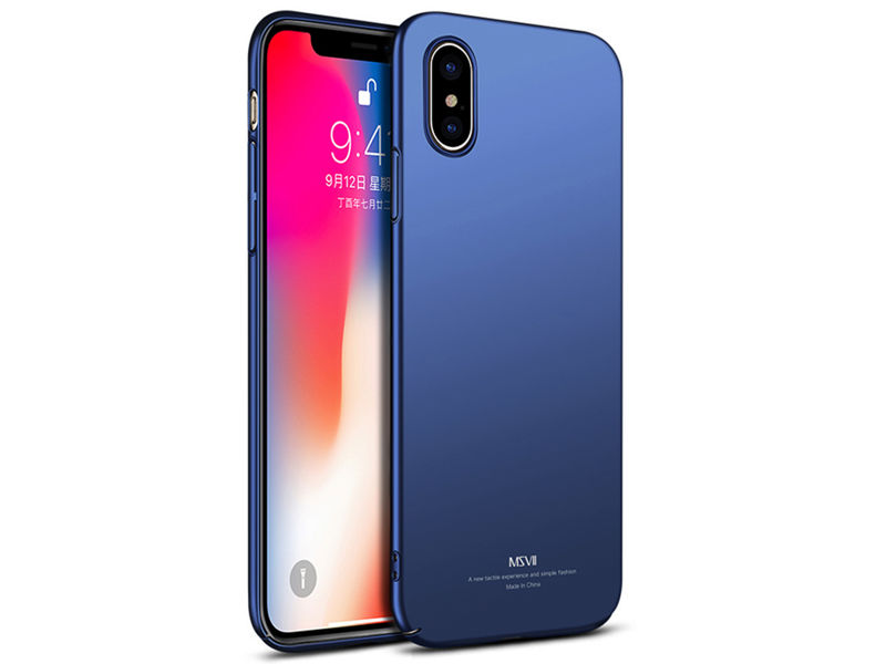 Etui MSVII Thin Case do Apple iPhone X Granatowe - Granatowy