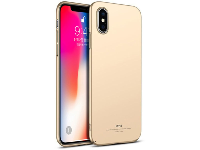 Etui MSVII Thin Case do Apple iPhone X Xs Złote + Szkło - Złoty