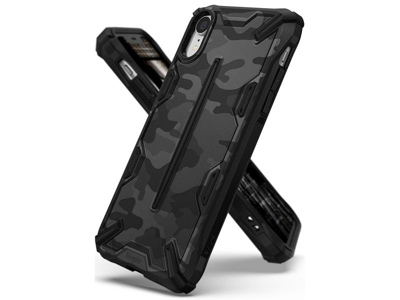 Etui Ringke Dual X Apple iPhone Xr Camo Black + Szkło Alogy