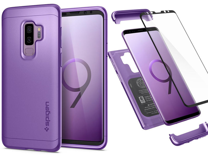 Etui Spigen Thin Fit 360 + szkło Galaxy S9 Plus Lilac Purple - Fioletowy
