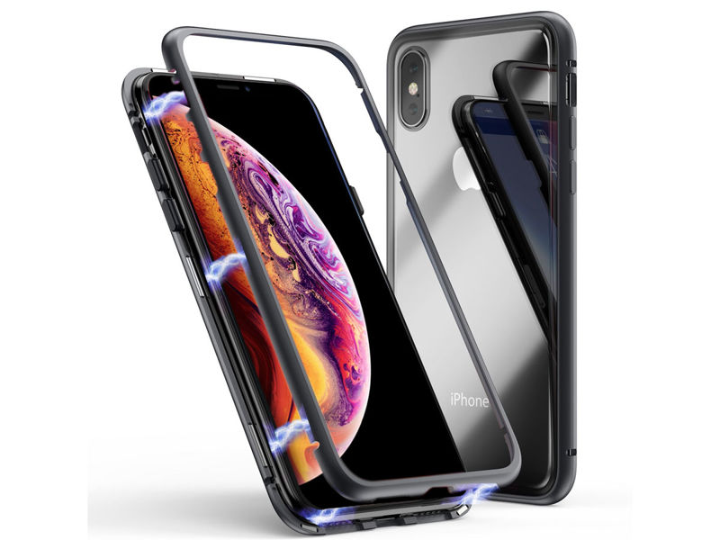 Szklane etui magnetic case iPhone XS Max Czarne